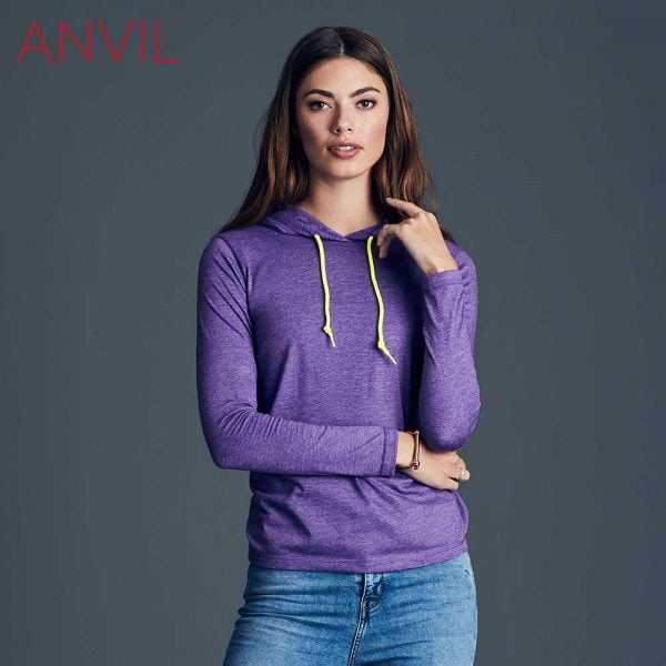 ANVIL 887L Ladies Lightweight Long Sleeve Hooded T-Shirt