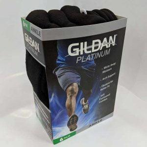 Gildan Platinum GP731 Men's Ankle Socks Black (6 Pair)