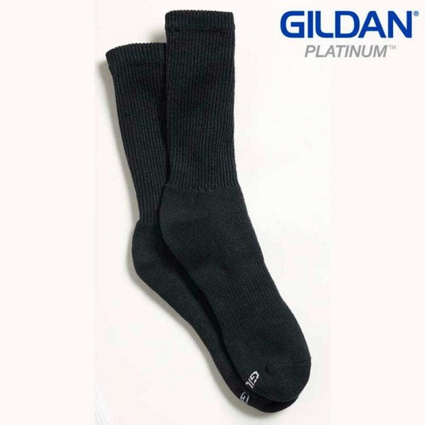 Gildan Platinum GP751 Men's Crew Socks Black (6 PAIR)