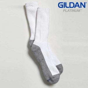 Gildan Platinum GP751 Men's Crew Socks White/Grey (6 Pair)