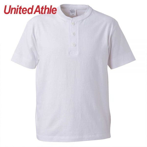 United Athle 5.6oz Adult Cotton Henry Collar T-shirt 5004-01 White 001