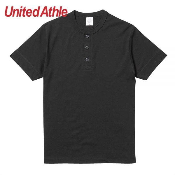 United Athle 5.6oz Adult Cotton Henry Collar T-shirt 5004-01 Black 002