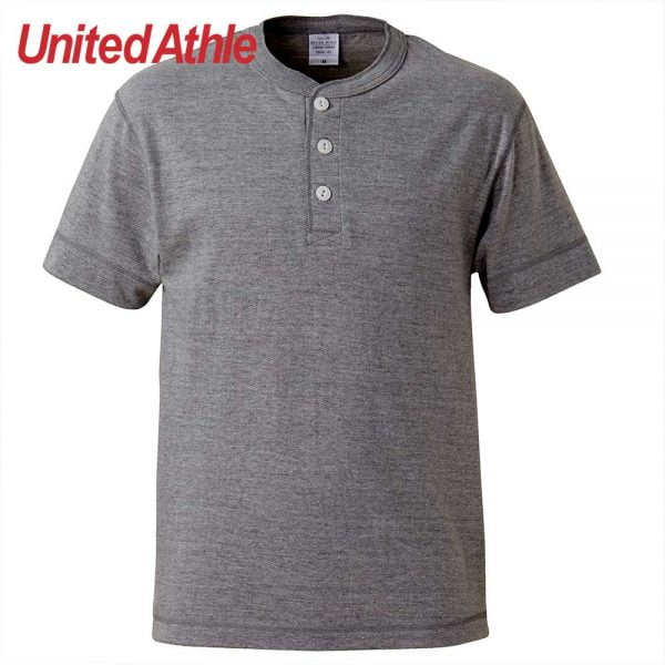 United Athle 5.6oz Adult Cotton Henry Collar T-shirt 5004-01 Mix Grey 006