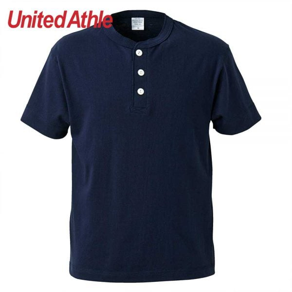 United Athle 5.6oz Adult Cotton Henry Collar T-shirt 5004-01 Navy 086