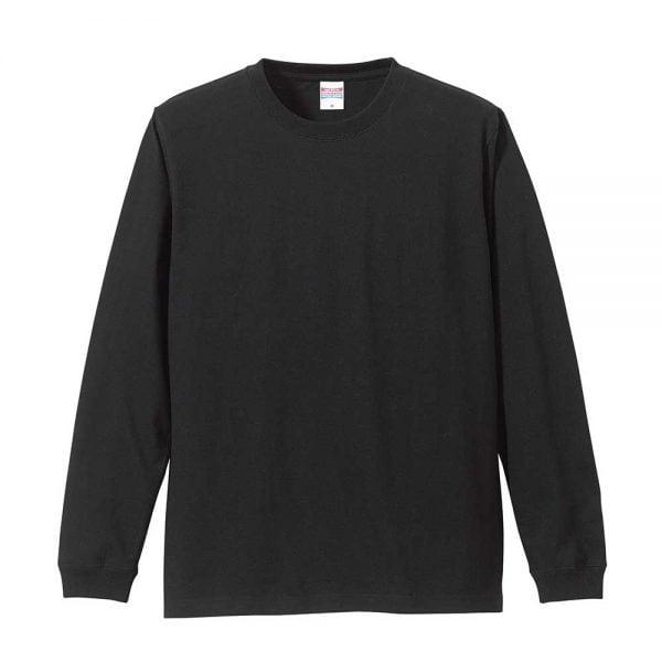 United Athle 5011 5.6oz Long Sleeve Cotton T-Shirt - Black 002