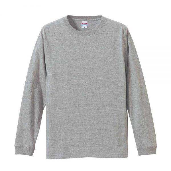 United Athle 5011 5.6oz Long Sleeve Cotton T-Shirt - Mix Grey 006