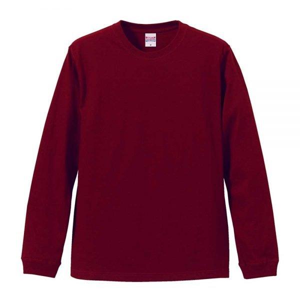 United Athle 5011 5.6oz Long Sleeve Cotton T-Shirt - Maroon 072