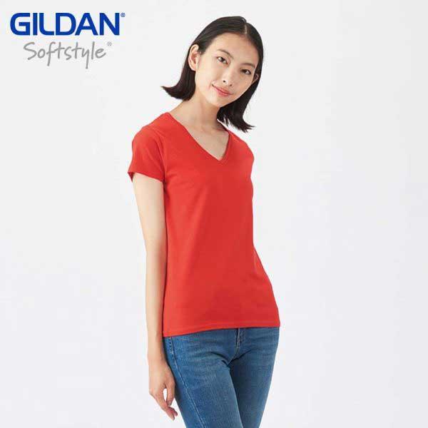 Gildan 63V00L SoftStyle 女裝環紡 V領 T恤