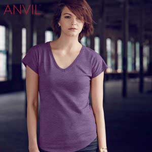 ANVIL 6750VL Ladies Tri-Blend V-Neck T-Shirt