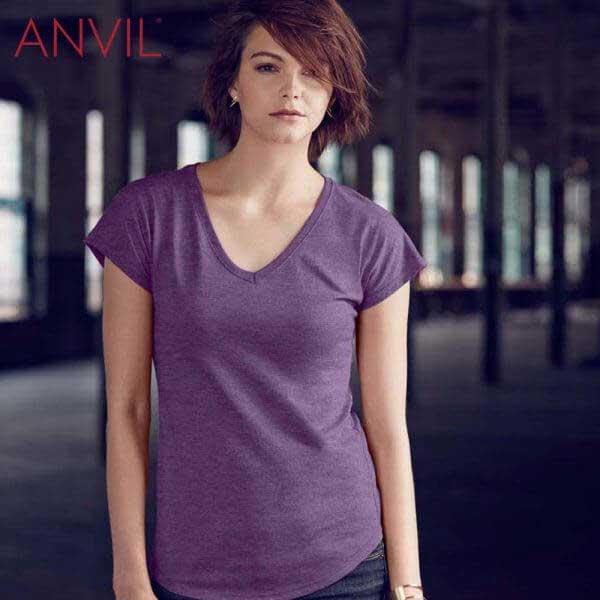 ANVIL 6750VL 女裝混紡 V領 T恤