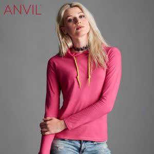 ANVIL 887L Ladies Lightweight Long Sleeve Hooded T-Shirt