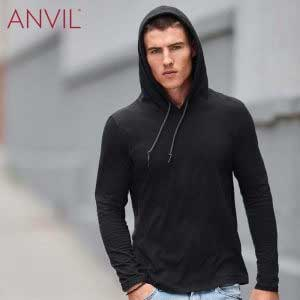 ANVIL 987 Adult Lightweight Long Sleeve Hooded T-Shirt (US Size)