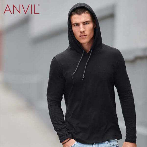 ANVIL 987 男裝輕身有帽長袖 T恤 (美國尺碼)