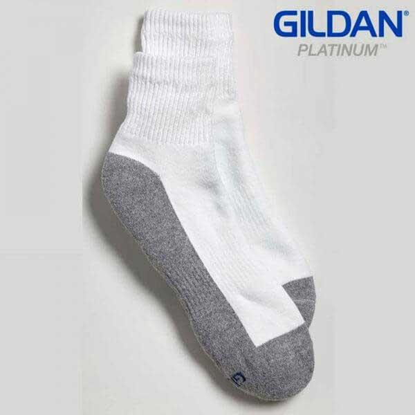 Gildan Platinum GP731 白色/灰色男裝短襪 (6 對裝)