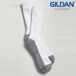 Gildan Platinum GP751 Men's Crew Socks White/Grey (6 Pair)