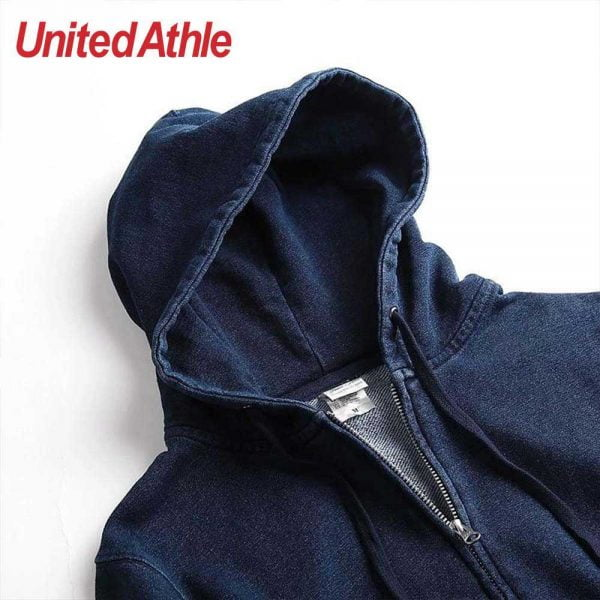 United Athle 3905-01 Adult Indigo Hooded Full Zip Sweatshirt 3905-01 Indigo 745