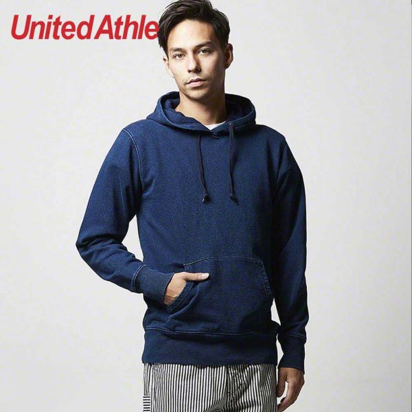United Athle 3907-01 Adult Indigo Hooded Sweatshirt 3907-01 Indigo 745