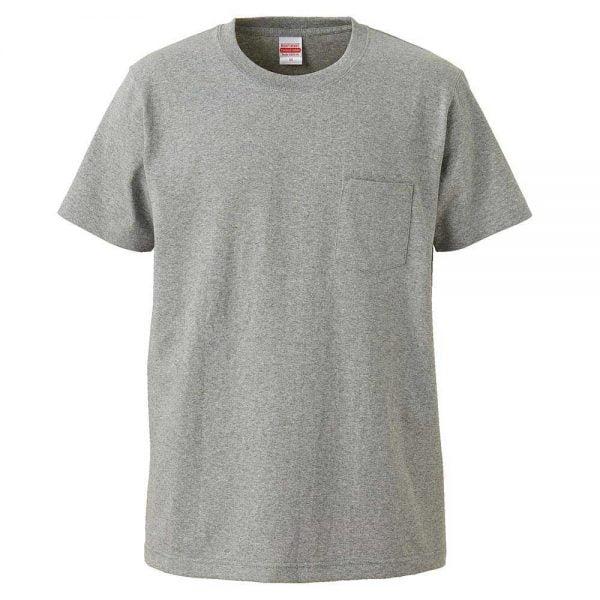 United Athle 7.1oz Heavy Weight Adult Cotton Pocket T-shirt 4253-01 Mix Grey 006