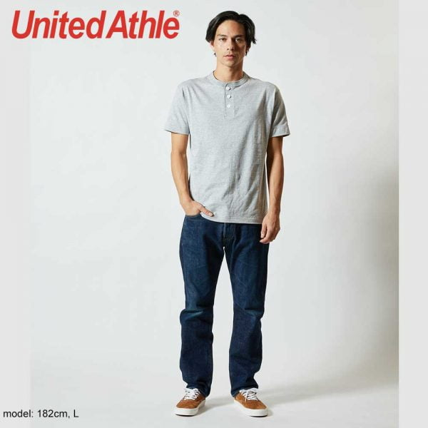 United Athle 5004-01 5.6oz 男裝短袖亨利領T恤