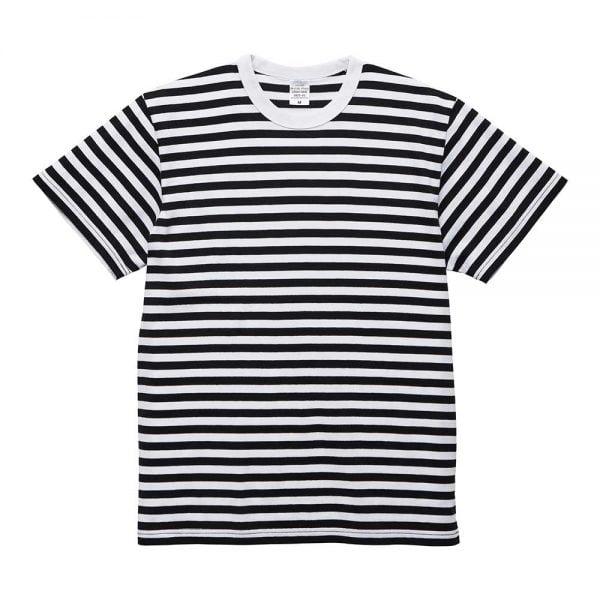 United Athle 5.6oz Adult Striped Cotton T-shirt 5625-01 Black/White 2091
