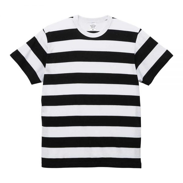 United Athle 5.6oz Adult Striped Cotton T-shirt 5625-01 Black/White 2092