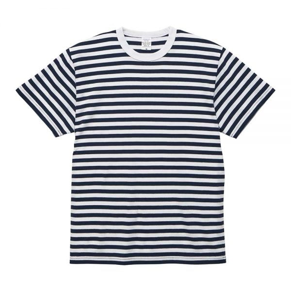 United Athle 5.6oz Adult Striped Cotton T-shirt 5625-01 Navy/White 4091