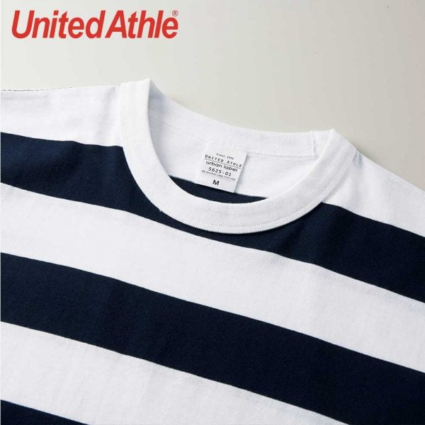 United Athle 5.6oz Adult Striped Cotton T-shirt 5625-01 Navy/White 4092