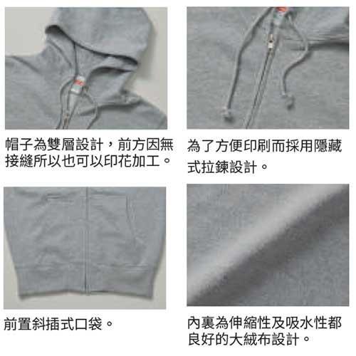 United Athle 5213-01 10.0 oz 純棉魚鱗布連帽拉鍊衛衣